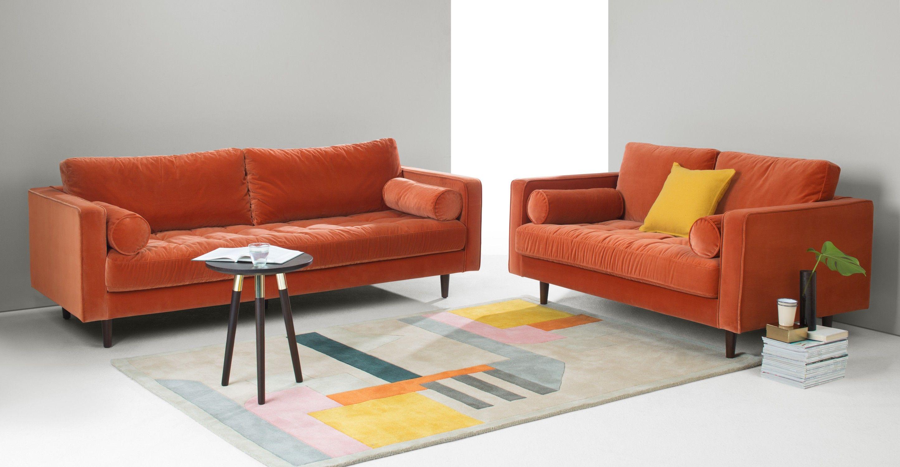 Scott 3 Seater Sofa Concrete Cotton Velvet Made