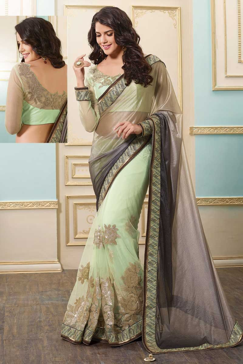 7bd077171 Arsenic Gray And Tea Green Lycra And Net Embroidered Party Saree Price:  $115.33 http: