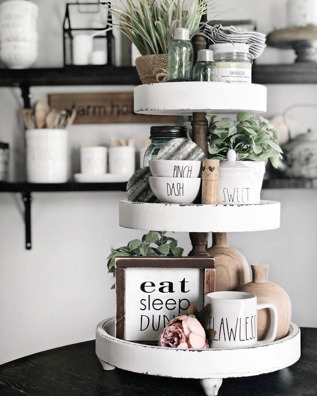 LASER cut Bloom Where You are Planted Farmhouse Style DIY Tiered TrayRae Dunn Style