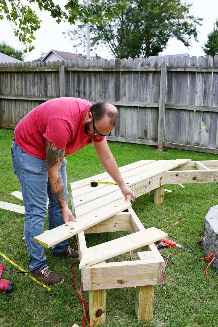 Fire pit bench diy pinterest bench backyard and gardens