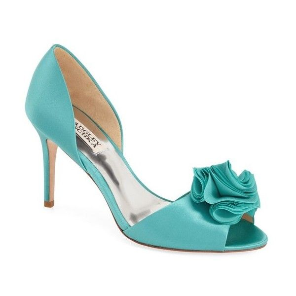 Womens Shoes Badgley Mischka Amaze Turquoise Satin