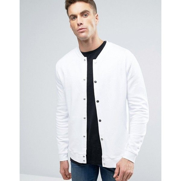 dcee53c44 ASOS Jersey Bomber Jacket With Snaps In White ($30) ❤ liked on ...