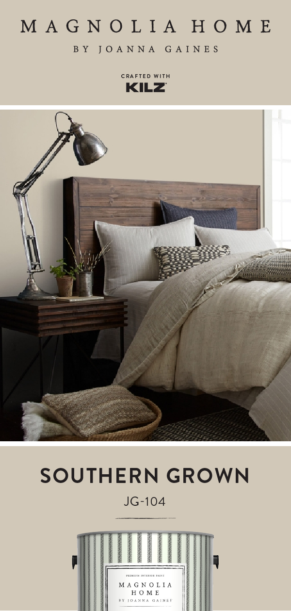 Add a soft neutral hue to the walls of your home with Southern Grown, from the Magnolia Home by Joanna Gaines® Paint collection. Take design inspiration from this rustic bedroom. Dark wood furniture, industrial lighting, and a neutral color palette create the perfect complement for this hue. Click below for full color details to learn more. #masterbedroompaintcolors