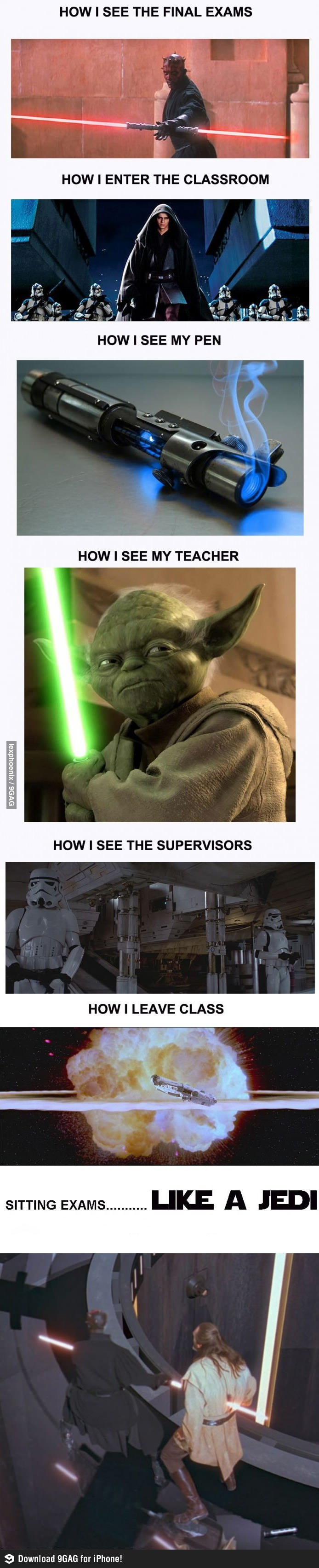 Exams Like A Jedi Funny Star Wars Memes Star Wars Humor Star Wars Pictures