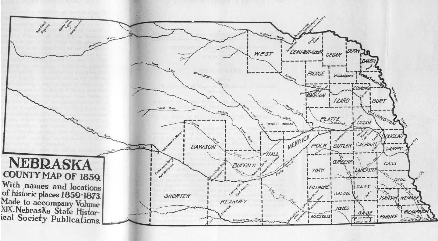 Counties Nebraska Map.1859 Map Of Nebraska Counties Nebraska State Historical Society