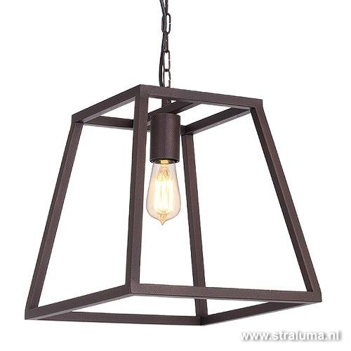 Lantaarn hanglamp landelijk bruin frame - www.straluma.nl ...