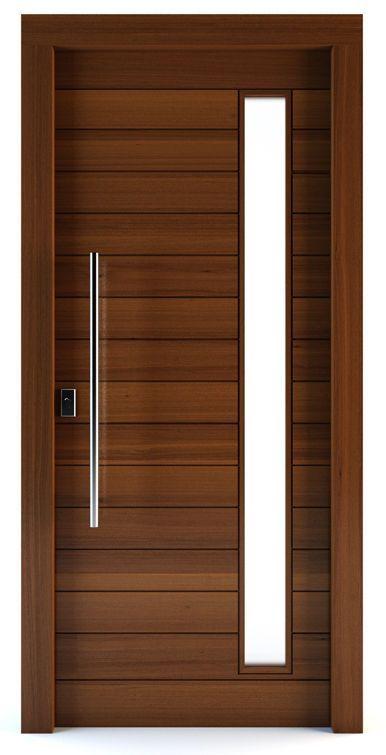 Puerta de entrada   abatible   de madera maciza   semividriada