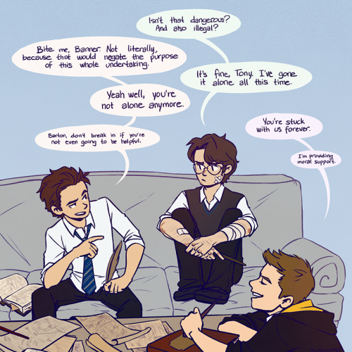 You're not alone anymore. (x)   After a full moon night, Bruce finds out about the Hogwartvengers' plan to keep him company.