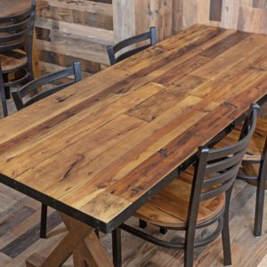 Reclaimed Wood Table Tops With Metal Edge Economy In 2020 Reclaimed Wood Table Top Reclaimed Wood Table Restaurant Furniture