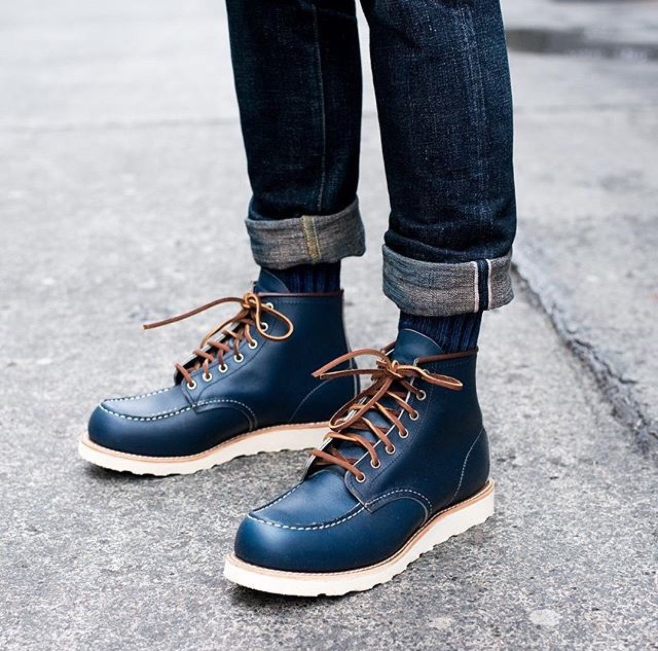 low priced e4b81 c6ce8 Red Wing 8882 Moc-toe Navy Portage | J.Crew | Selvedge ...