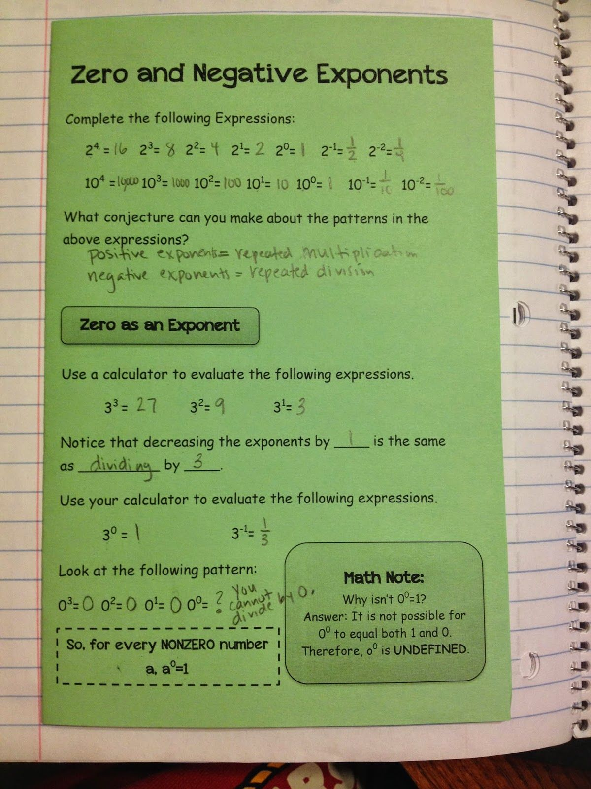 Zero Amp Negative Exponents Making Mathematics Magical Rules Of Exponents Interactive Notebook