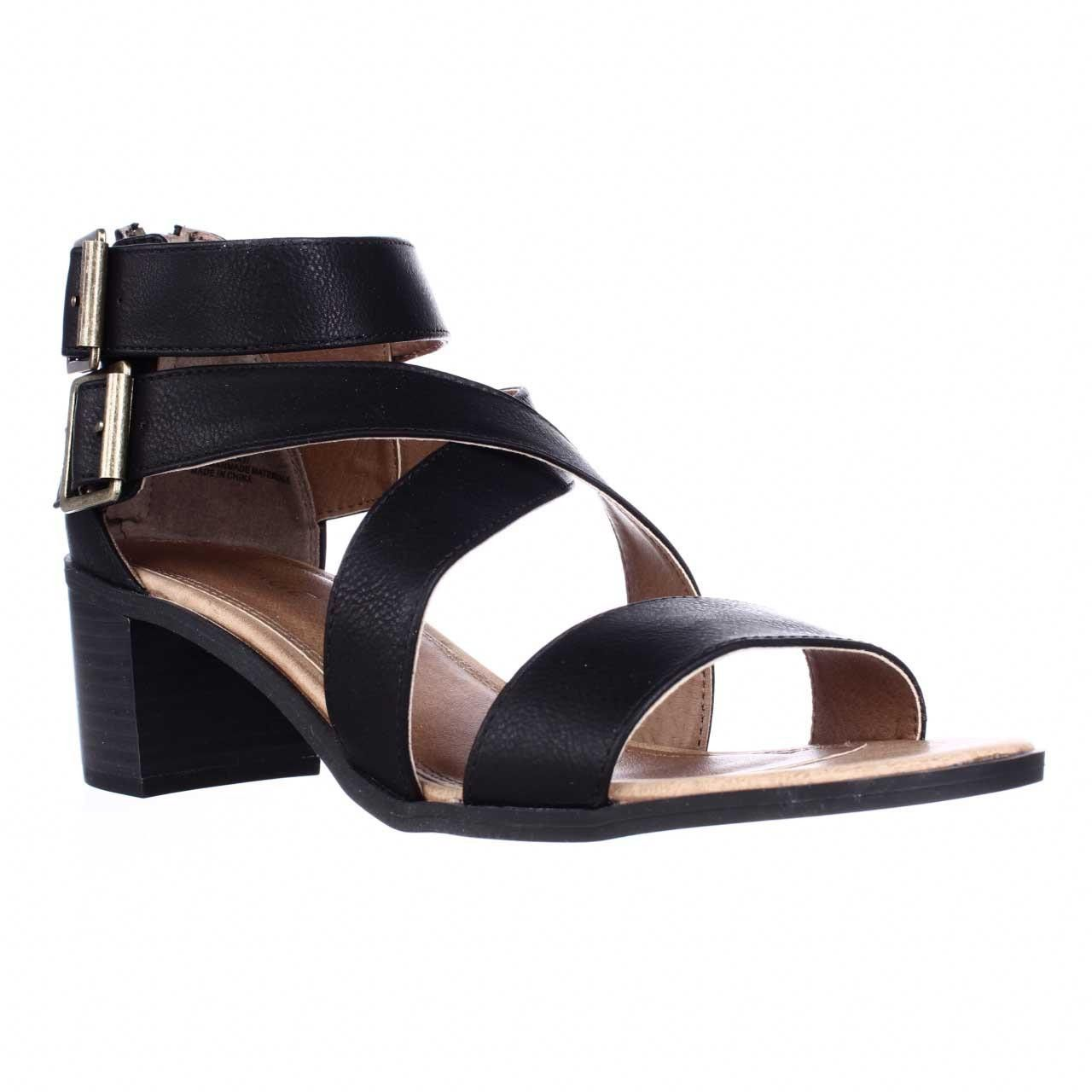 Black leather sandals low heel - Rampage Havarti Low Heel Dress Sandals Black