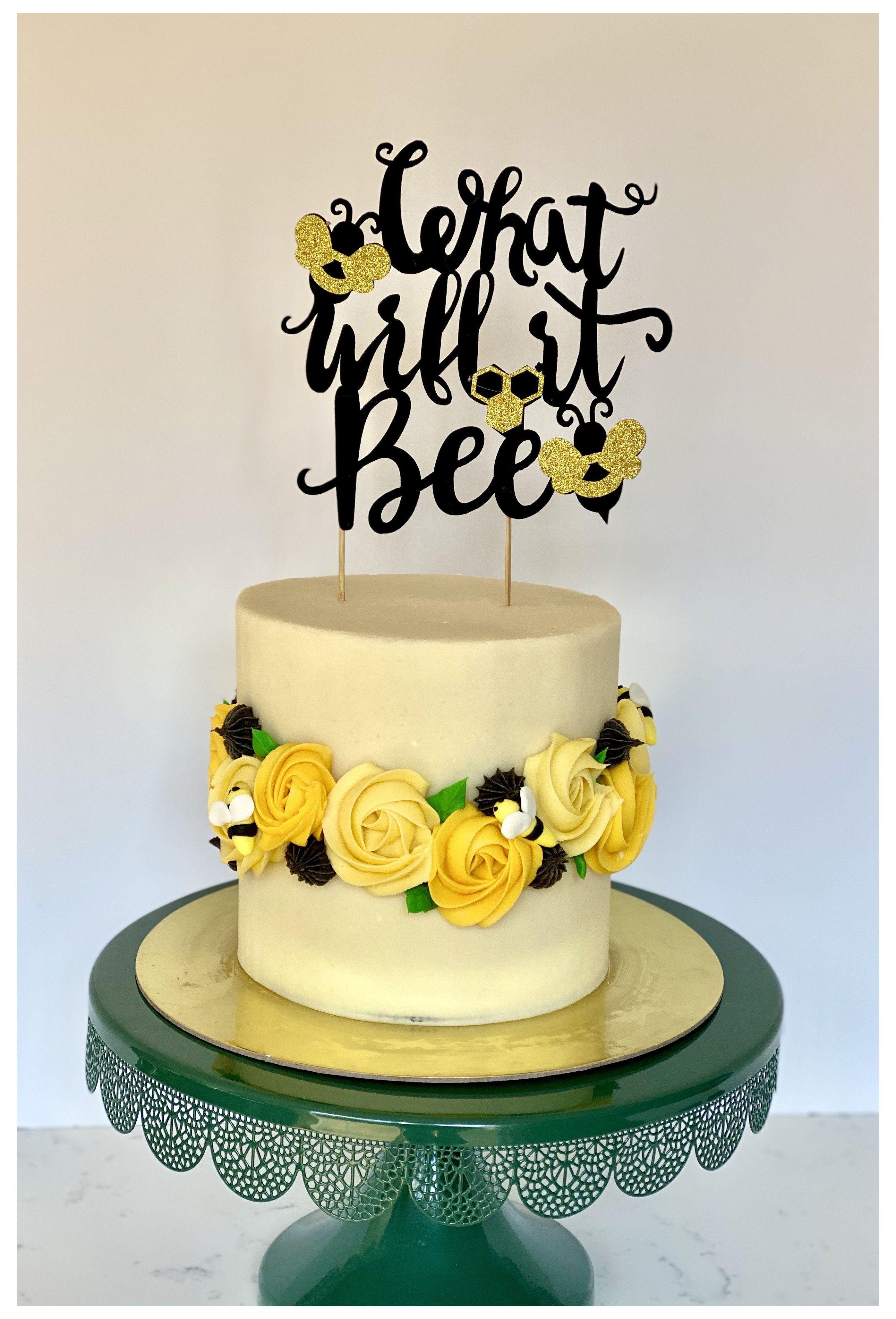 Bee Gender Reveal Cake Gender Reveal Cake What Will It Bee Gender Reveal Cake Baby Reveal Cakes Bee Gender Reveal