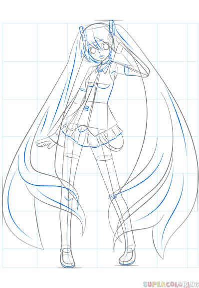 How To Draw Hatsune Miku Step By Step Drawing Tutorials Drawing Anime Bodies Manga Drawing Hatsune Miku