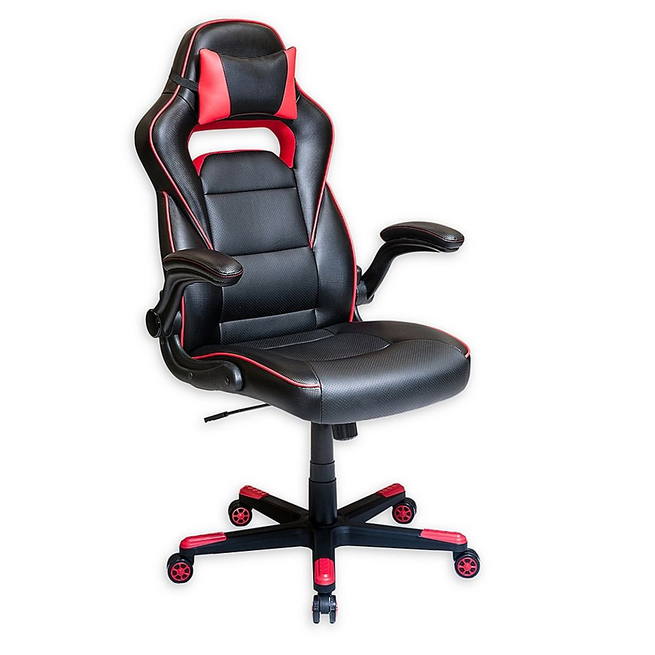 Techni Mobili Faux Leather Office Chair With Neck Pillow In Black