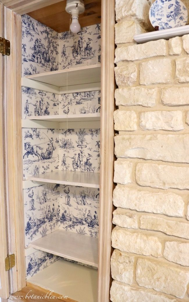 Photo of French Country Pantry Makeover with Seasons Toile Wallpaper in blue and white