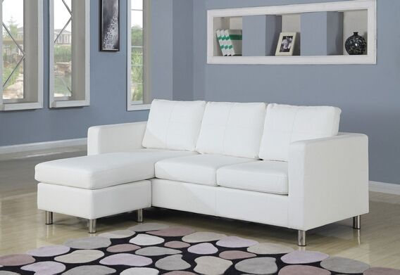 2 Pc Kemen Collection White Leather Like Vinyl Reversible Apartment Size Sectional Sofa With Chaise 450