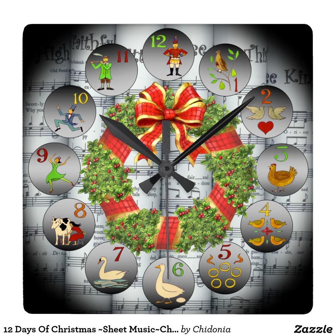 12 Days Of Christmas Sheet Music Christmas Wreath Square Wall Clock Zazzle Com Christmas Sheet Music Christmas Wreaths Square Wall Clock