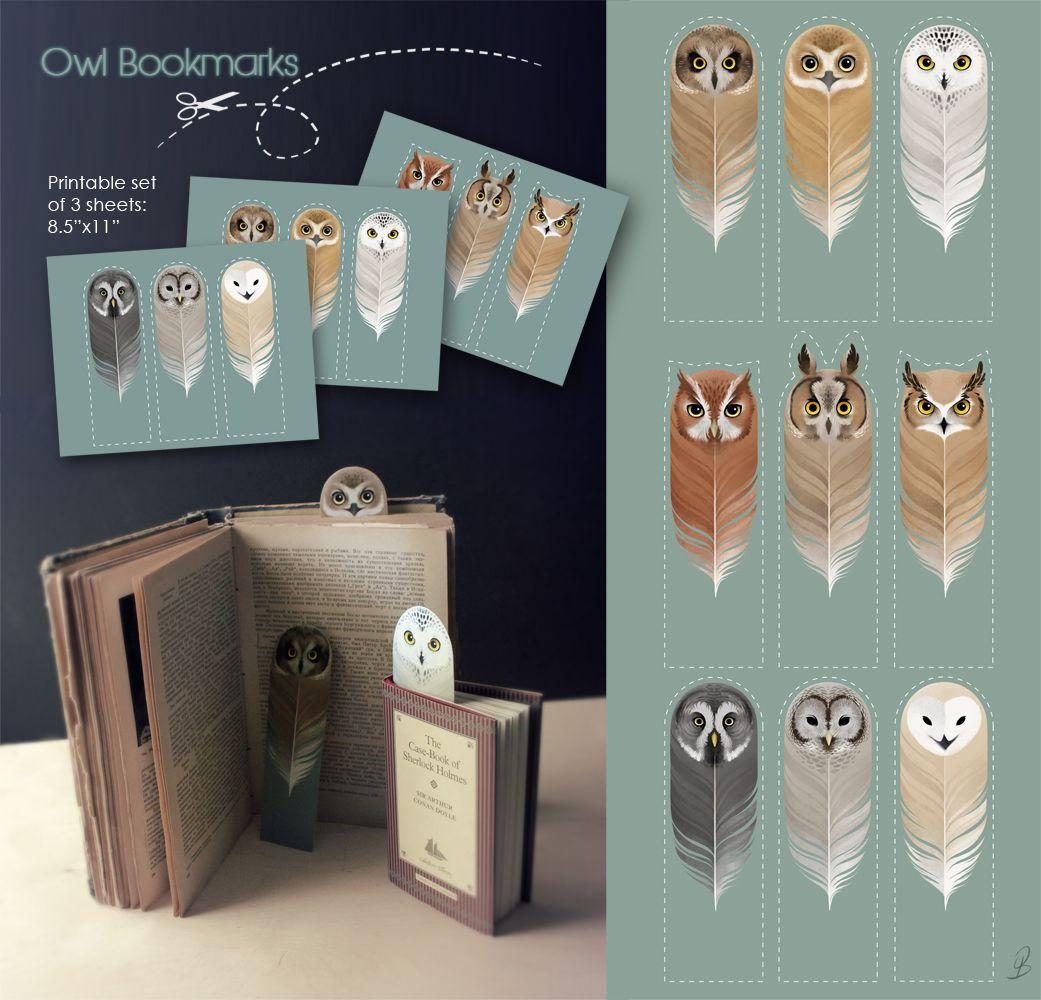 Free owl printable bookmarks download zip