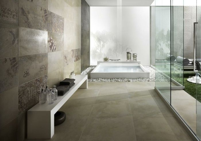 Badezimmer Fliesen mit naturstein Optik Design Bathroom Pinterest - badezimmer design fliesen