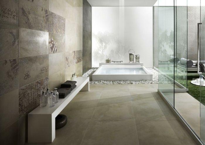 Badezimmer Fliesen mit naturstein Optik Design Bathroom Pinterest