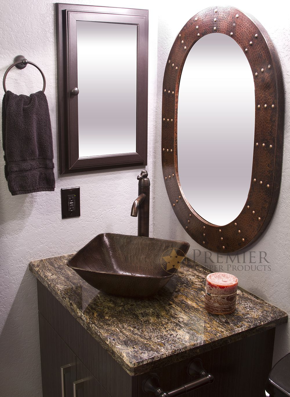 The Square Vessel Hammered Copper Sink Pairs Perfectly with Our