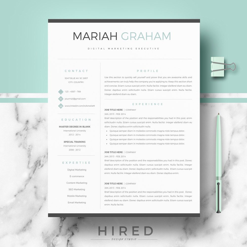 professional resume template for word  u0026 pages  modern resume cv template   cover letter   resume