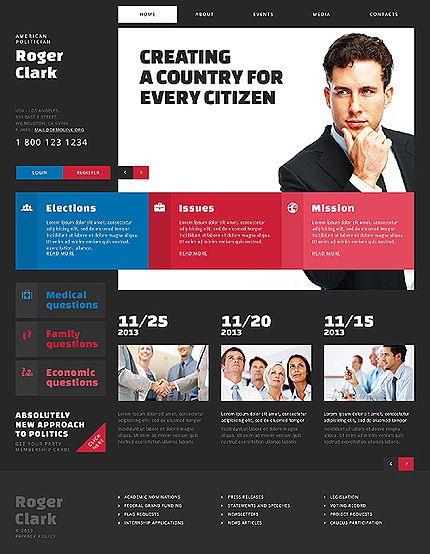 Website Template Roger Clark American Politician Political - Political website templates