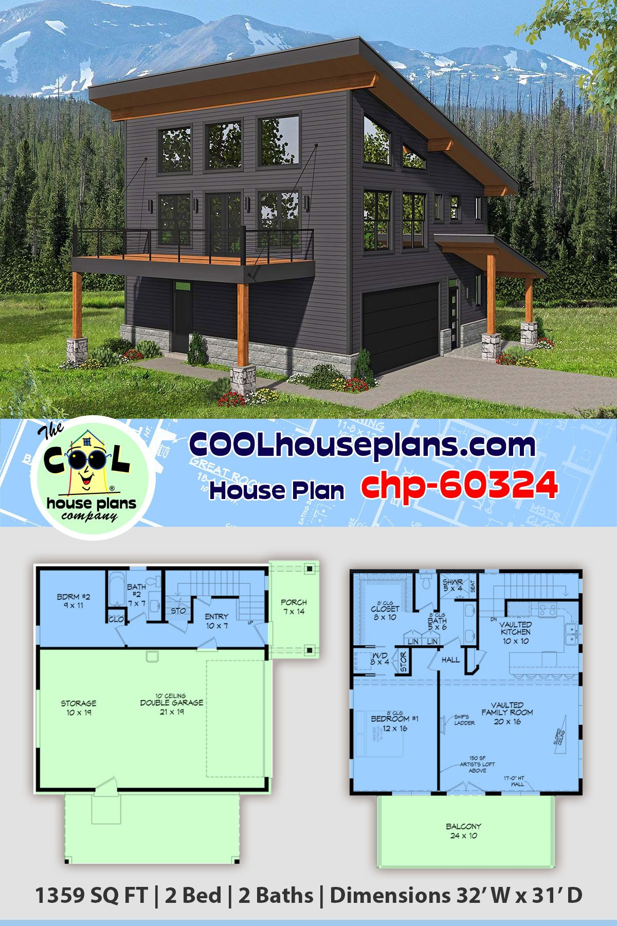 Apartment Over Garage Plan Chp 60324 Is 1359 Sq Ft 2 Bedrooms 2 Baths With Upper Balcony Garage Apartment Plan Carriage House Plans Garage House Plans