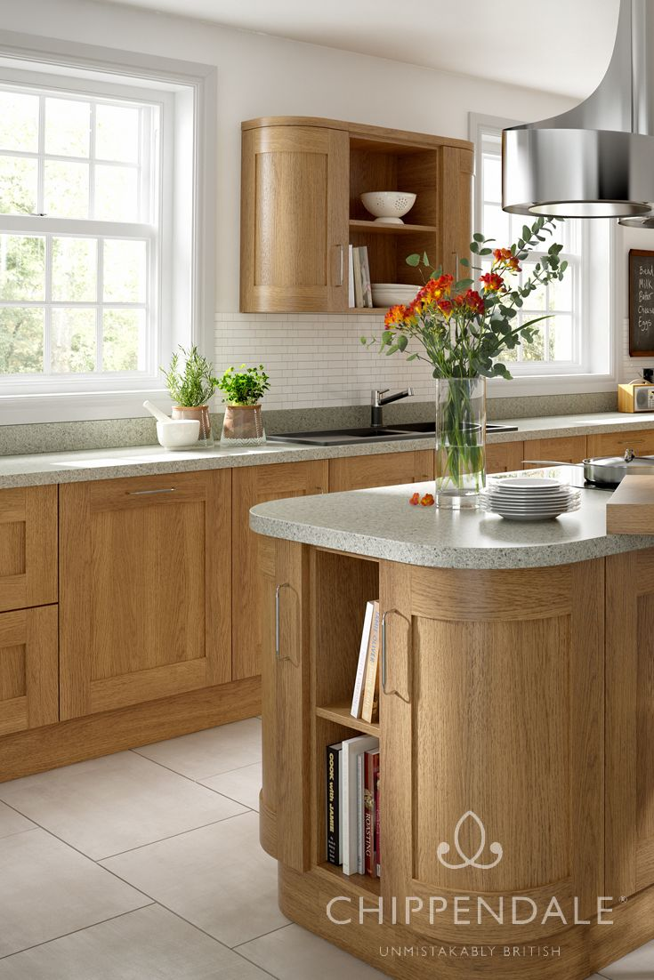 Contemporary shaker style kitchen with warm lissa oak timber doors ...