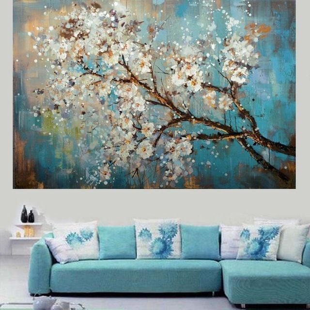 Paintings For Living Room Design With Fireplace And Tv Handpainted Modern Abstract Flower Canvas Art Decoration Of Oil Painting Wall Pictures Paint