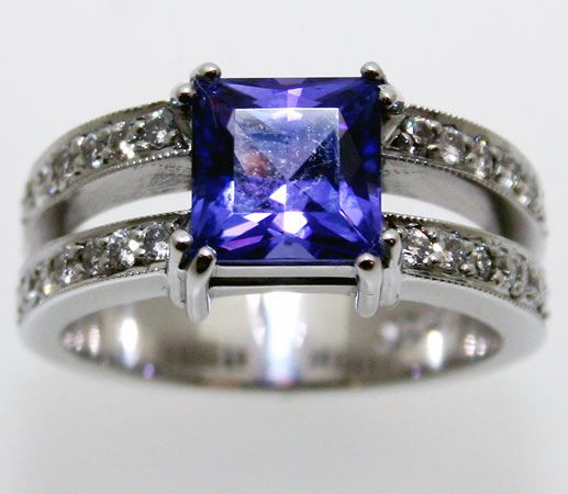 rings gold halo white pear tanzanite products cushion arthur diamond kaplan trillion ring and