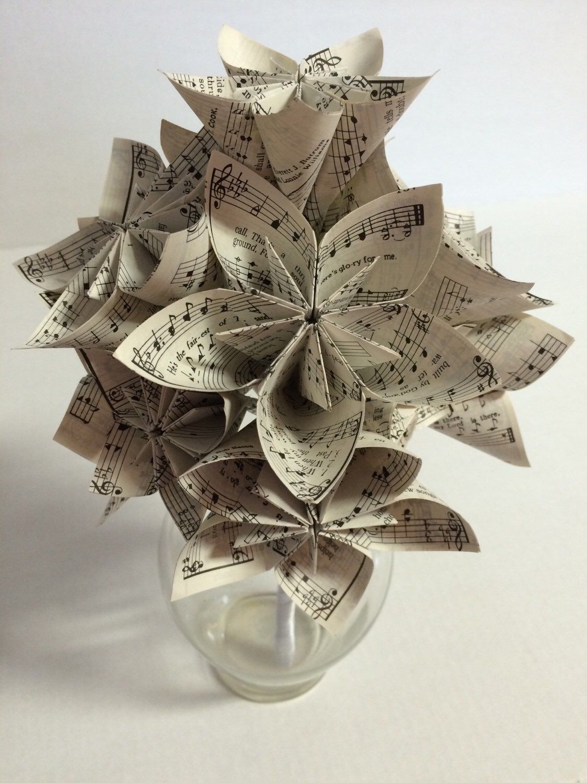 Paper Flower Sheet Music Origami Kusudama Bouquet Wedding Bridal