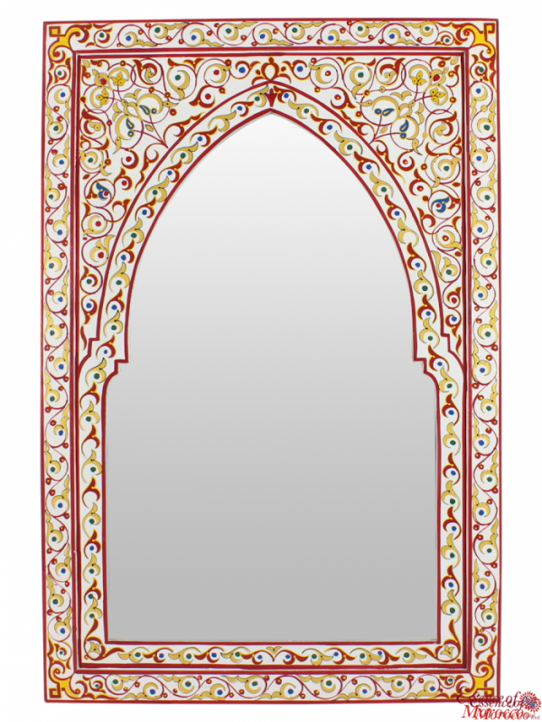 Moroccan Arched Mirror Wood Handmade Hand Painted In The