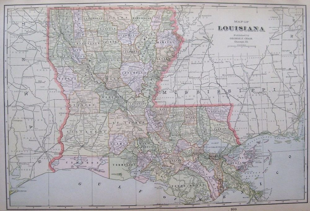 1901 Antique LOUISIANA  MAP Vintage 1900s Map Of LOUISIANA Atlas Map