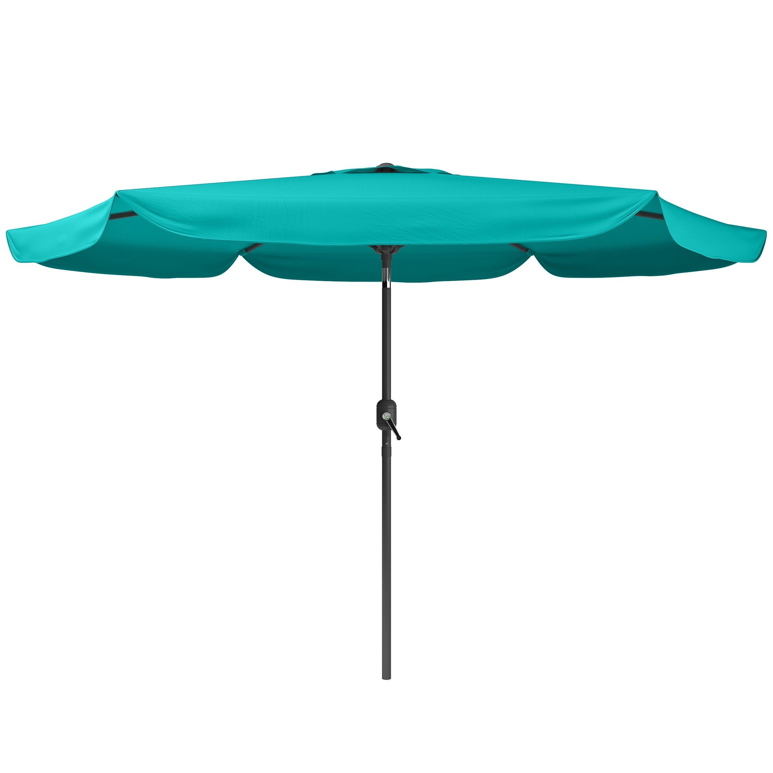 Bon CorLiving Tilting Patio Umbrella (Turquoise Blue), Size 9.5 Foot (Aluminum)