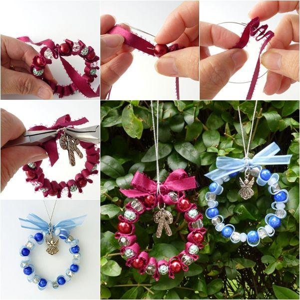 Wonderful DIY Bead and Ribbon Wreath Ornament for Christmas - #Bead #CHRISTMAS #DIY #forchristmas #Ornament #Ribbon #Wonderful #Wreath #howtoputribbononachristmastree