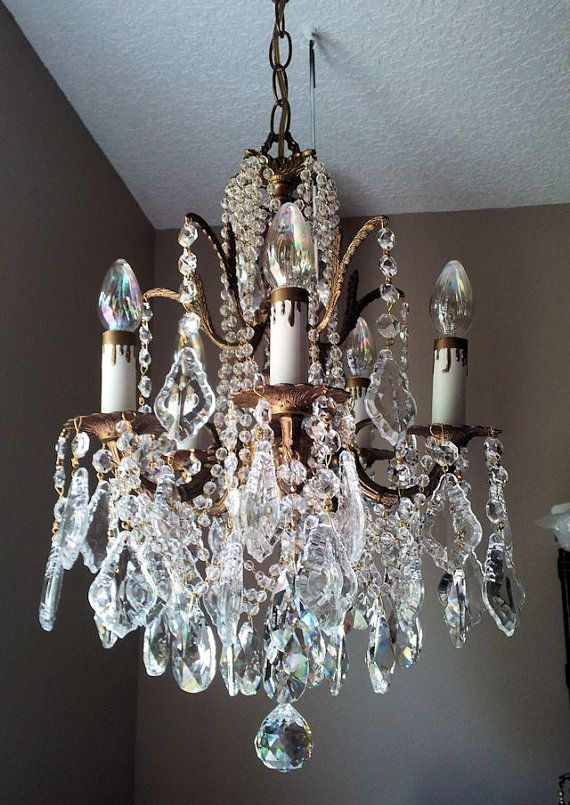 Exquisite Vintage French Brass And Crystal Petite Chandelier