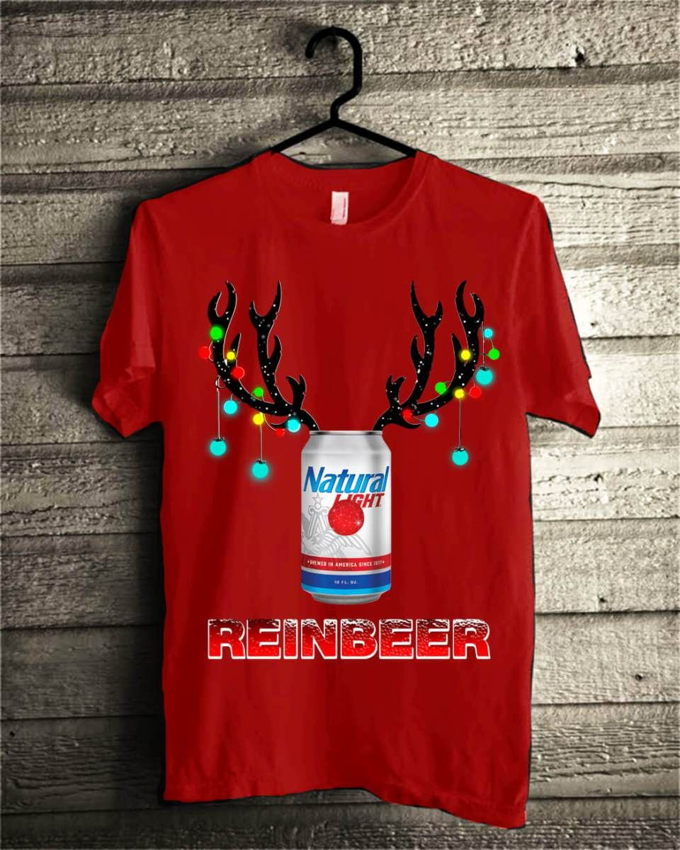 Natural Light Reinbeer Christmas Shirt Natural Light Reinbeer