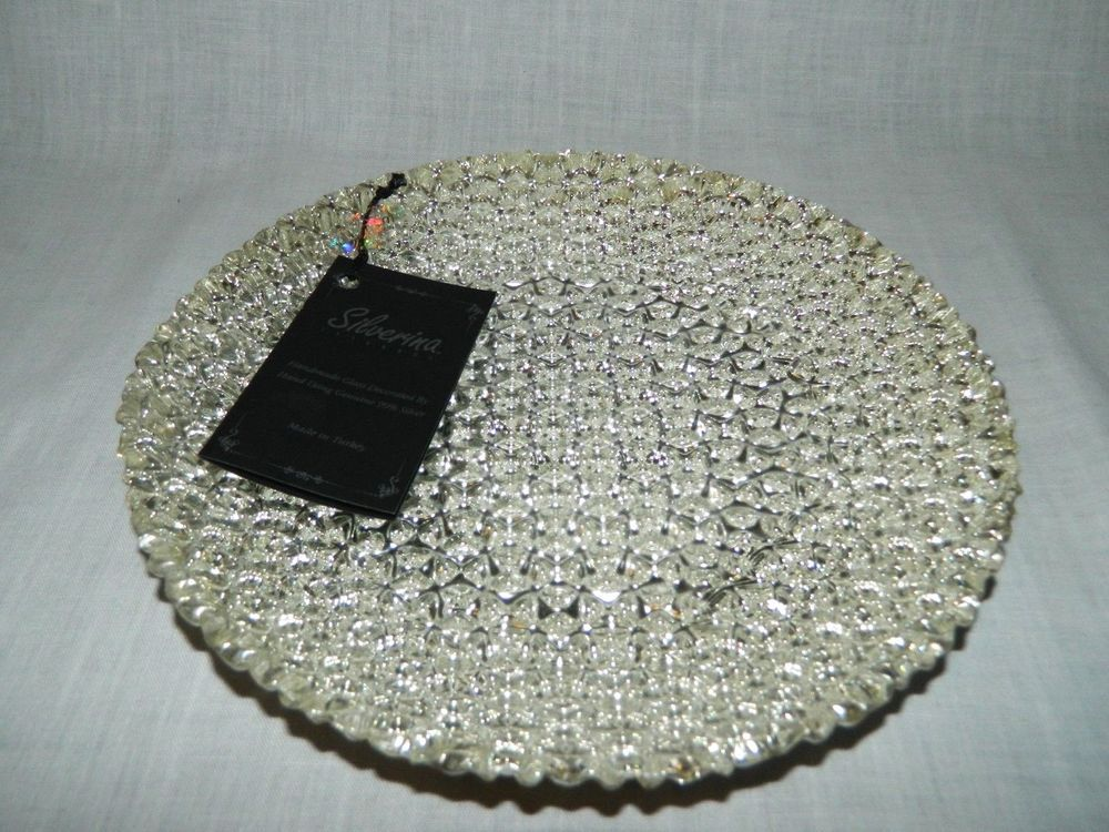 Silverina Istanbul 8 Glass Silver Decorated Circular Serving Tray