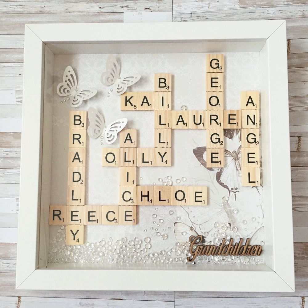 💛Family Scrabble Box Frame.Personalized gift for Mothers Day ...