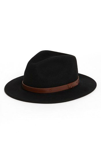 "Brixton /""Messer/"" Fedora Hat Black-Black Wide Brim Wool Felt Leather Band Cap"