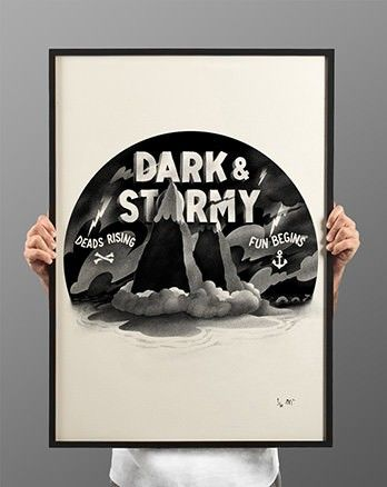 Dark & Stormy A1 by Mcbess Screen printed on Roemerturm paper. Less focused on actual characters and more focused on environmental design, this print still holds reminiscence of old style cartoons, which shared the same kind of watercolour backdrops that the animation frames were placed upon. The three dimensional aspect of having the title between the two mountains is also an interesting part of the design.
