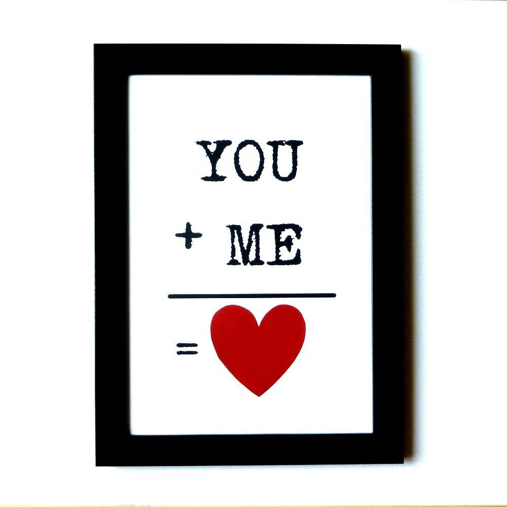 You Me 3 Kan Det Siges Tydeligere Det Er Da Bare Romantisk Send Dette Sode Billede Til Din Kaereste Kob Det I Net Kaereste Gaver Kreative Ideer Gaveideer