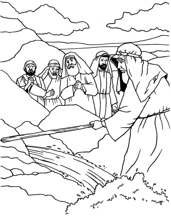Moses Moses Strike His Stick To The Rock Coloring Page Sunday