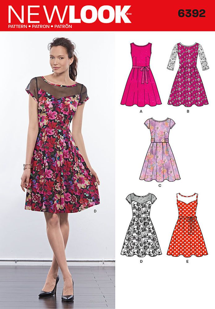 with this dress pattern you have the option to make a pleated full skirt dress with lace overlay and three quarter sleeves, dress with contrast sheer yoke, or dress in one fabric. pattern includes tie belt.