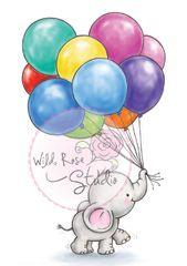 Wild Rose Studio Clear Stamps Elephant Clip Art Balloons Elephant Balloon