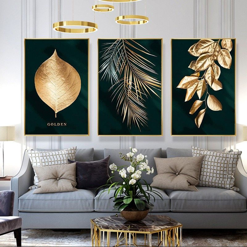 Wall Art Nordic Plants Gold Leaf Canvas Painting Abstract Marble Posters And Print Pop Art Picture For Living Room Kitchen Decor In 2020 Gold Leaf Art Apartment Wall Decor Gold Leaf
