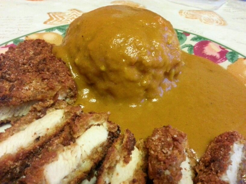 Japanese Katsu Curry with fried panko chicken and rice.