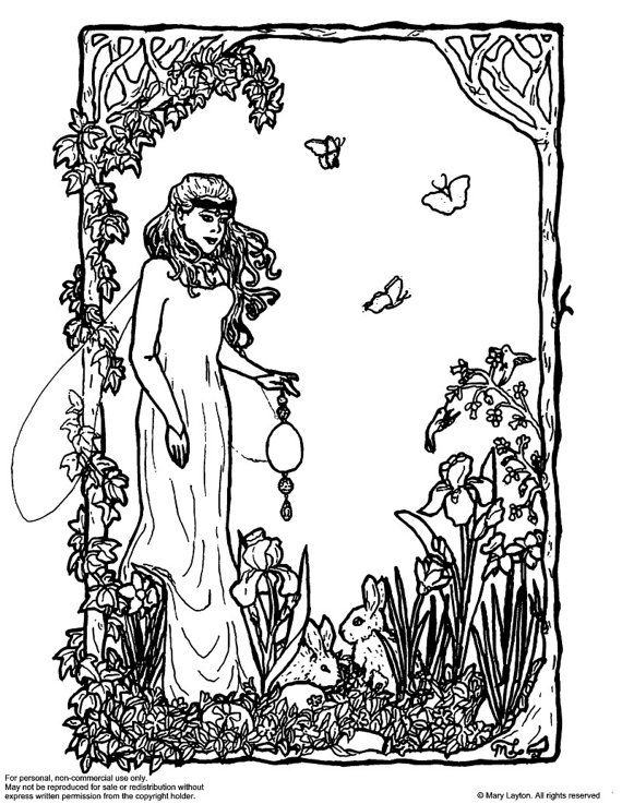 Downloadable Coloring Page Ostara Easter Fantasy Art Nouveau With Bunnies Coloring Pages Fantasy Art Art